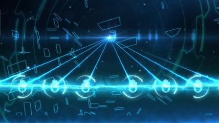 蓝色科技感倒计时手掌粒子光线条汇聚启动仪式视频宣传