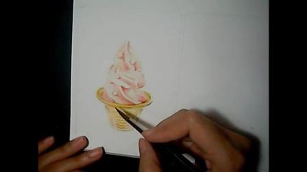 手绘视频调试水彩手绘冰淇淋