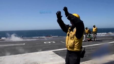 """美军航母舰载机密集起飞 弹射瞬间险些""""滑倒"""