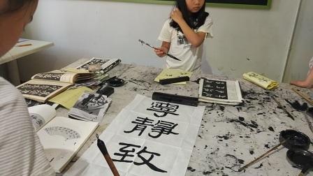 彭思琦书法练习《宁静致远》现场,湘潭凯旋湖湘艺术培训学校