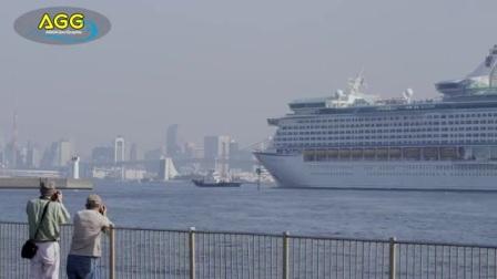 4K-豪华客船东京港入港