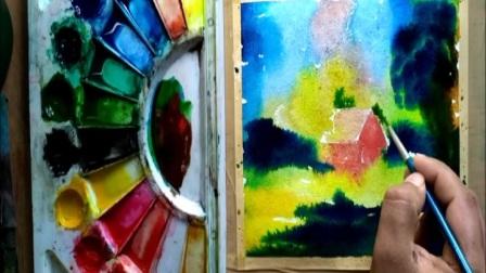 Malerpris油画:房屋多彩上鲜艳色