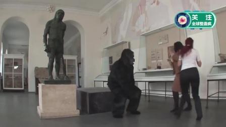 爆笑恶搞: 参观雕塑馆, 结果大猩猩变活了