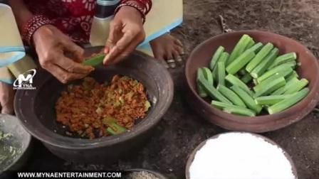 印度老奶奶煎秋葵夹咖喱青椒末, 做好和两小伙一起吃