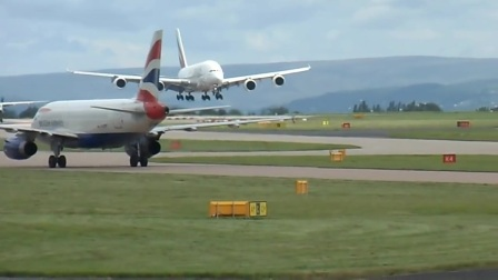 A380 Touch and Go (Aborted Landing) Manchester Airport July 11th 2012