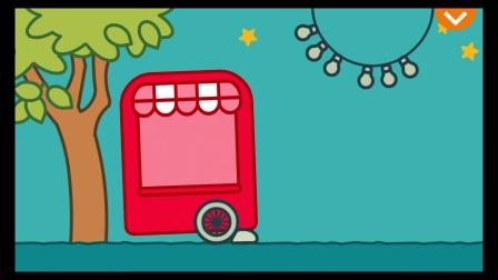 卡通故事时间消防车为孩子们提供睡前故事冰激凌车给孩子