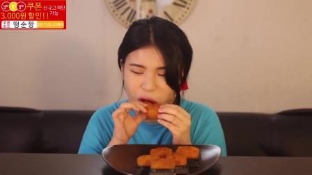 [Ddongsoon吃播][Eating Sound]夹心面包红柿干烧虾麻薯面包菝葜糕(2)