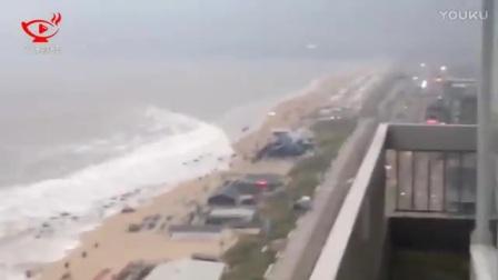 荷兰遭遇小型海啸 2米高浪潮席卷沙滩_标清