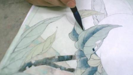 李晓明工笔花鸟教学视频DVD技法讲座DVD工笔寿桃知了图(一)