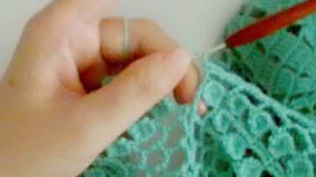 友玲讲五角花披肩外搭第6课--袖口的缘边织