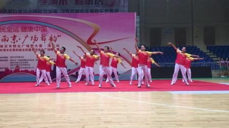 南京市溧水区男子健身队在广场舞比赛中