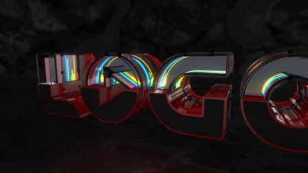 AE模板:三维E3D霓虹灯玻璃质感音频反应LOGO演绎片头 Cut Neon Audio React Logo