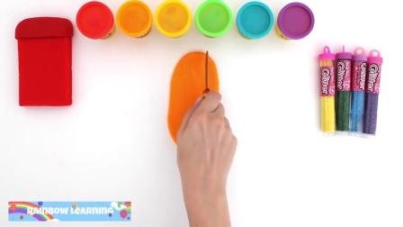 制作彩虹闪亮的冰淇淋,用橡皮泥来学习