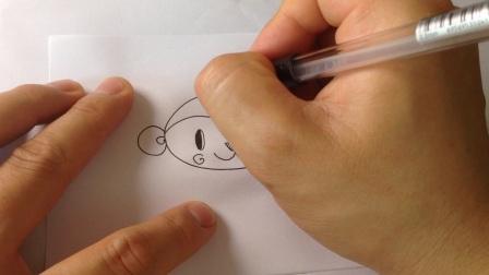儿童卡通简笔画.十二生肖-猴子的画法