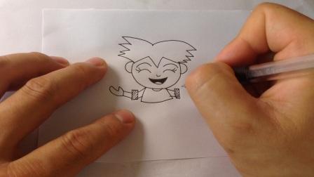 儿童卡通简笔画.体育运动类人物-滑旱冰的小男孩