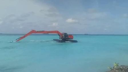 金毅设备水陆两栖挖掘机在马尔代夫施工