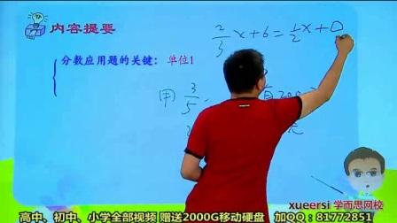 (1)小升初应用题重点考查内容————分数、比例应用题例1 小学六年级数学竞赛班 秋季 杨秀情 【20讲+讲义】