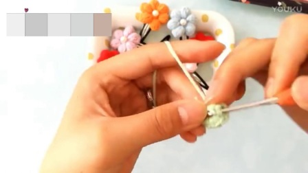 钩针花朵发夹手工编织