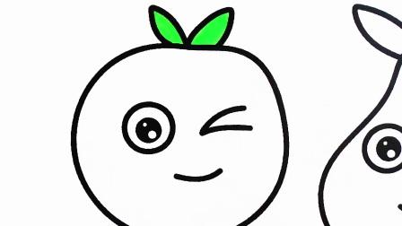 如何画水果,香蕉,橘子,苹果,葡萄,涂色纸给孩子们的创造力