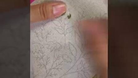 小清新绿植套-图案2-叶子绣、轮廓绣、直针绣、缎面绣、结粒绣