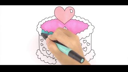 儿童彩笔绘画  生日蛋糕