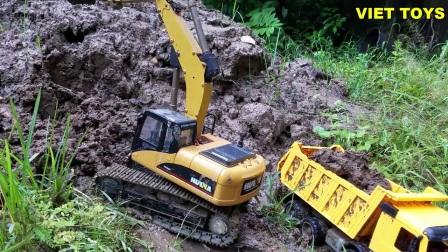 挖掘机工作超长视频表演大全 工程车 推土机 汽车 机玩具