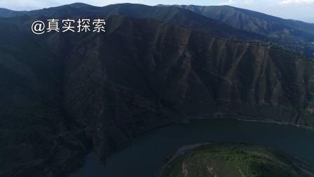 航拍黄河支流洮河6:秋池湾江段,甘肃省定西市渭源县