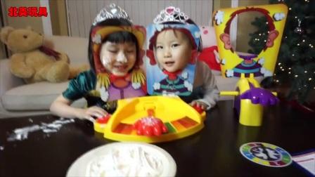小猪佩奇冰雪奇缘姐妹玩奶油打脸砸派机双人游戏玩具 25_高清