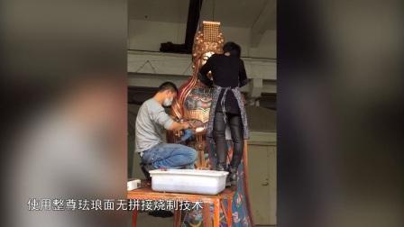 林辉先生等创作的3.23米珐琅面无拼接景泰蓝妈祖像是世界上最高的珐琅面无拼接景泰蓝妈祖像