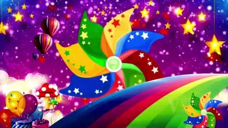 B100幼儿园团体表演 儿童卡通舞蹈背景 彩虹 大风车 LED晚会视频素材