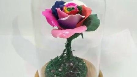 软陶七彩玫瑰花手工工艺品
