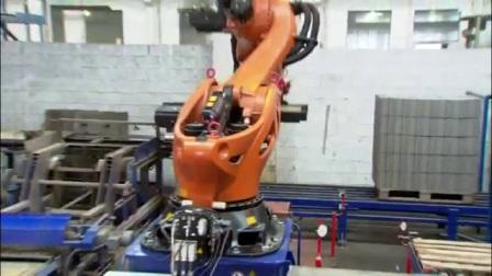 库卡机器人水泥砖搬运码垛视频
