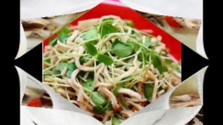 五道家常菜:辣鱼汤,香葱炒金针菇,口水鸡,香椿苗拌豆腐丝,山药排骨煲