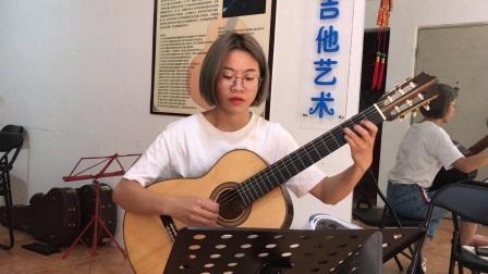 广州学吉他 沈文静学琴十节课弹的梅尔贝古典吉他教程第一册选曲