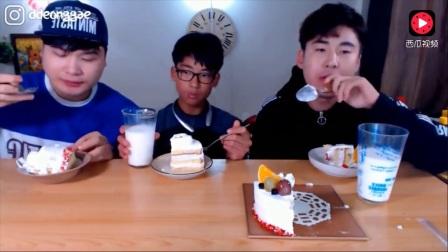 韩国吃播大胃王豪放派donkey兄弟和弟弟吃小蛋糕, 庆祝粉丝破70万