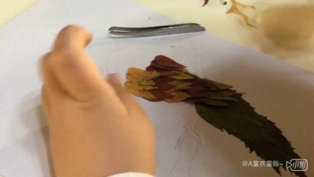 【瞬间文艺青年】树叶贴画一年级作业