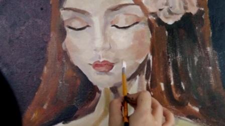 手绘少女,色彩练习《思》