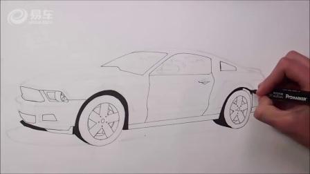 达人快速手绘 美式肌肉车福特Mustang