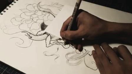 扉页tattoo纹身手稿过程图 绘画  插画