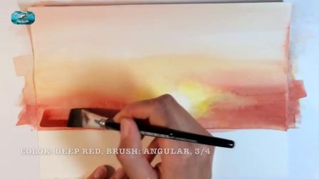 用水彩画日落 Easy Watercolor Sunset Painting Demonstration