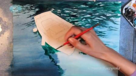 水彩画小船 Watercolor Boat on a Clear Water Painting Demonstration