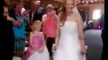 Walking down the aisle with broken knee.