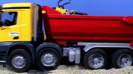 快乐的罐车和推土机在一起工作,很开心的工程车队在一起