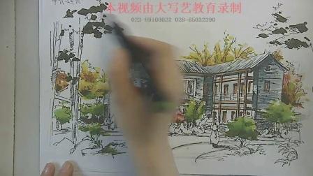景观建筑手绘中式建筑手绘上色4,中式建筑手绘,手绘中式建筑,手绘技法学习