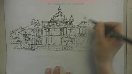 景观建筑手绘欧式建筑手绘线稿5,景观欧式建筑手绘,景观手绘技法,欧式建筑手绘