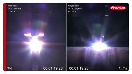 ArcTig和TIG焊接不锈钢管(厚度6mm)对比视频