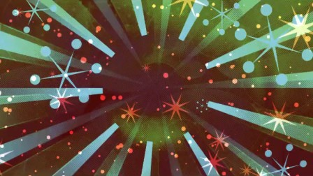 复古动感条形冲击旋涡圆点六角图案符号飘浮LED动态背景视频素材