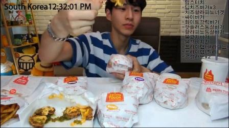 【原速+二倍速】韩国吃播【剪说话】BANZZ奔驰小哥吃10个大汉堡_美食圈_生活