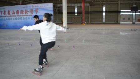 武夷山国际轮滑公开赛深圳市新华中学Ellen轮滑队-双人花式绕桩冠军冯辉曾毅