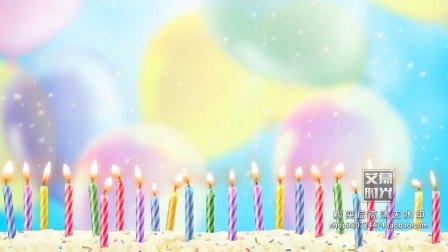 生日快乐宴会儿童卡通蜡烛气球蛋糕生日歌 LED电子大屏幕舞台KTV背景VJ视频素材15